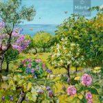 Printemps - Paysage grassois Southern France, landscape, spring fleurs et fruits du paysage grassois, 52x80cm acrylic, peinture acrylique