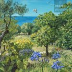 Eté - Paysage grassois Southern France, landscape, spring fleurs et fruits du paysage grassois, 52x80cm acrylic, peinture acrylique