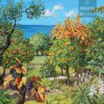 Automne - Paysage grassois Southern France, landscape, automn fleurs et fruits du paysage grassois, 52x80cm acrylic, peinture acrylique