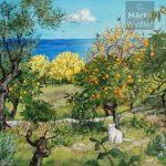 Hiver - Paysage grassois Southern France, landscape, winter fleurs et fruits du paysage grassois, 52x80cm acrylic, peinture acrylique