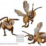 Abeilles - carton Bees, cardboard, technique mixte