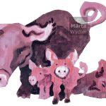 Cochons - carton peint painted cardboard, pigs, piglets