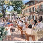 Brunch in Provence - watercolour aquarelle, live painting