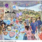 Birthday party anniversaire, événement, peinture aquarelle, black stone, pierre noire, portraits, 56x76cm