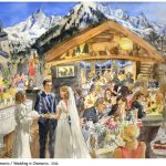 Wedding in Chamonix - watercolour mariage, aquarelle, pierre noire, black stone, Switzerland, Suisse