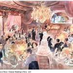 Chinese wedding in Paris watercolour, blackstone, aquarelle, pierre noire, mariage, chinois, event, événement