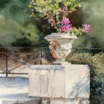 Colline du château - fleurs Nice, flowers, watercolor, aquarelle