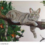 Peinture murale - detail chat Théâtre National de Nice, Theatre wall painting, hommage à la nature, tribute to nature landscape, paysage, cat, orange tree, bigaradier