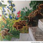 Peinture murale - detail marcassins Théâtre National de Nice, Theatre wall painting, hommage à la nature, tribute to nature landscape, paysage, piglet