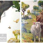 Peinture murale - detail 1 Théâtre National de Nice, Theatre wall painting, hommage à la nature, tribute to nature landscape, paysage, animals, animaux