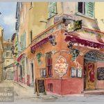 Bar des Oiseaux - Nice Old Town, Vieux Nice, restaurant bar, aquarelle, crayons, watercolour, pencils