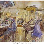 Le Comptoir - aquarelle Nice, bar restaurant, live music, watercolour, pencils, 161x76cm, 2010, Jazz
