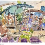 Hi Beach - Nice, Promenade des Anglais aquarelle, watercolour, crayon, pencil, mediterranean, méditerranéen, plage,