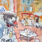 Marché Brocante - Cours Saleya aquarelle crayons, watercolour pencils, Nice, french riviera, market vintage