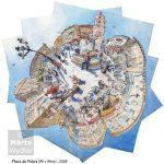 Place du Palais - aquarelle, 99x99cm Nice, watercolour and pencil, panoramic, mediterranean aquarelle et pierre noire, panoramique méditerranéen