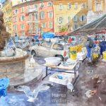 La Place Saint François - aquarelle Nice, old town, Vieux Nice, 222x89cm, 2010 watercolour, pencils, crayons, fish market, marché de poissons,