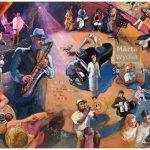 Allegory MUSIC - 81x65cm acrylic painting, peinture acrylique, 81x65cm, 2007 allégorie, jazz, musique, ambiance, saxophone, live music