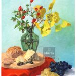 nature morte - huile sur toile still life, oil on canvas, cheese, grapes, bouquet, fromage, raisons, rose hip, églantier