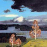 Bouleaux - paysage peinture à l'huile, oil painting, birches, Birken, landscape, snow, neige