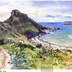 Malte - Golden Bay watercolour, aquarelle, pencils, crayons, paysage, landscape, coast, beach, plage, baie, Malta