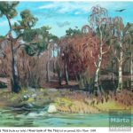 Huile sur toile - Töss paysage, landscape, oil painting, river, rivière, arbres, trees, pine tree, pin, bouleau, birches
