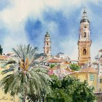 Menton - aquarelle Watercolour, french riviera,