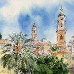 Menton - aquarelle Watercolour, french riviera,