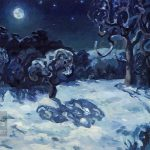 Winter night - oil painting peinture à l'huile, hiver, neige, snow, paysage, landscape, full moon, pleine lune, nuit,