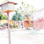 Côte d'Ivoire - scenery Bringakro, crayons couleur, colour pencils, Africa, afrique, Ivory coast,