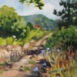 Chemin vers Sospel - oil painting peinture à l'huile, paysage, landscape path, flowers