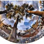 Trois Palmiers, photomontage 129x80cm Nice, mediterranean, méditerranéen Quai des Etats Unis, Baie des Anges, french riviera, 2002