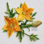 Fleur de Courgette - 60x60cm mixed technique on wood, 60x60cm technique mixte sur bois, 60x60cm fleur de courgette, zucchini flower, fleur, Märta Wydler, art