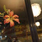 Lys d'Un Jour - 60x60cm, sur fenêtre mixed technique on wood, 60x60cm technique mixte sur bois, 60x60cm lys d'un jour, lily, flower, fleur, bees, abeilles, Märta Wydler, art