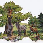 Ânes & Mélèzes - 85x61cm Mixed technique on canvas, 85x61cm, cut-out and mounted on wood 5mm. Technique mixte sur toile, 85x61cm, découpée et collée sur du bois 5mm. Donkey, larch, landscape, pine tree, heather âne, mélèze, paysage, nature, peinture acrylique Märta Wydler, art