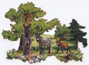 Ânes & Mélèzes - 85x61cm Mixed technique on canvas, 85x61cm, cut-out and mounted on wood 5mm. Technique mixte sur toile, 85x61cm, découpée et collée sur du bois 5mm. Donkey, larch, landscape, pine tree, heather âne, mélèze, paysage, nature, peinture acrylique Märta Wydler, art