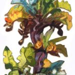 Bananier, 41x61cm Mixed technique on canvas, 41x61cm, cut-out and mounted on wood 5mm. Technique mixte sur toile, 41x61cm, découpée et collée sur du bois 5mm. banana tree, acrylic painting, landscape, bananier, paysage, nature, peinture acrylique, Märta Wydler, art