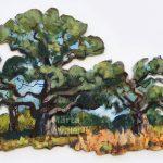 Chênes sur l'île d'Ängsö - 54x35cm Mixed technique on canvas, 54x35cm, cut-out and mounted on wood 5mm. Technique mixte sur toile, 54x35cm, découpée et collée sur du bois 5mm. oak tree, acrylic painting, landscape, chêne, arbre, paysage, nature, peinture acrylique, Märta Wydler, art