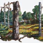 Forêt Suédoise Mixed technique on canvas, 85x64cm, cut-out and mounted on wood 5mm. Technique mixte sur toile, 85x64cm, découpée et collée sur du bois 5mm. forest, swedish, trees, acrylic painting, landscape, forêt, Suède, arbre, paysage, nature, peinture acrylique, Märta Wydler, art