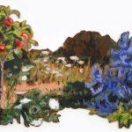 Jardin & Jeun Nectarinier - 84x55cm Mixed technique on canvas, 84x55cm, cut-out and mounted on wood 5mm. Technique mixte sur toile, 84x55cm, découpée et collée sur du bois 5mm. Garden, nectarine, acrylic painting, landscape, mediterranean jardin, nectarinier, paysage, nature, peinture acrylique, méditerranéen Märta Wydler, art