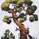Pinède & Ecureuils: Mixed technique on canvas, 88x70cm Technique mixte sur toile, 88x70cm squirrel, bird, pine tree, acrylic painting, landscape, écureuil, oiseau, pin, pinède, paysage, nature, peinture acrylique, Märta Wydler, art