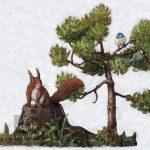 Mésanges et l'Ecureuil, Mixed technique on canvas, 66x75cm Technique mixte sur toile, 66x75cm squirrel, tit, pine tree, acrylic painting, landscape, écureuil, mésange, pin, pinède, paysage, nature, peinture acrylique, Märta Wydler, art