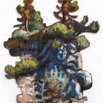 Pins Sur Rocher d'Olivetta, 54x75cm Mixed technique on canvas, 54x75cm, cut-out and mounted on wood 5mm. Technique mixte sur toile, 54x75cm, découpée et collée sur du bois 5mm. pine trees, rock, acrylic painting, landscape, pin, rocher, paysage, nature, peinture acrylique, Märta Wydler, art